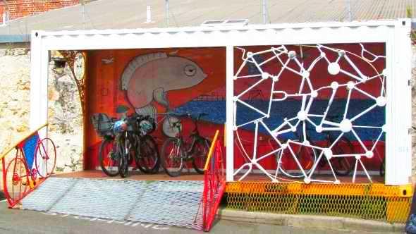 Solar lighting at Fremantle bike shelter